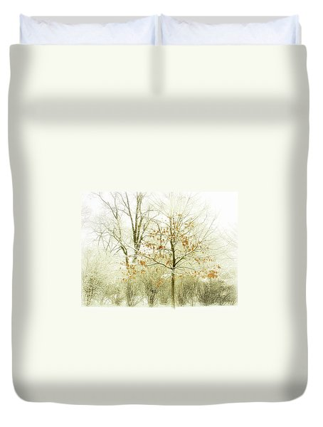 Winter Leaves Duvet Cover by Julie Palencia