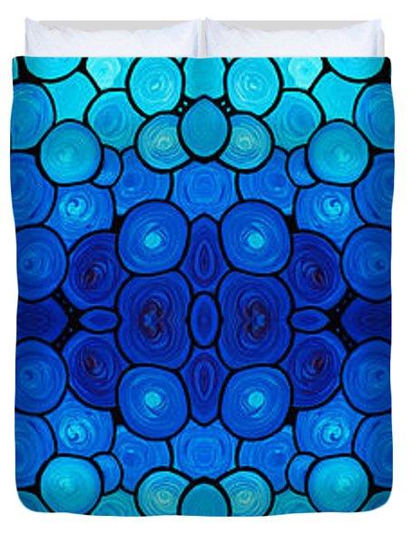 Winter Lights - Blue Mosaic Art By Sharon Cummings Duvet Cover by Sharon Cummings