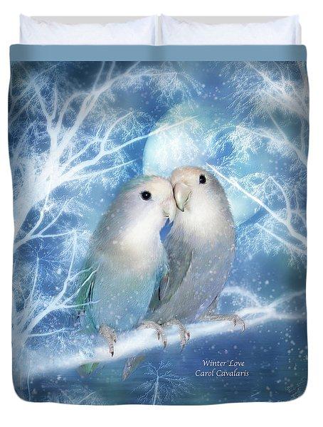 Winter Love Duvet Cover by Carol Cavalaris