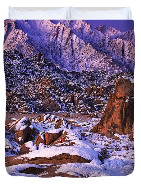 Winter Morning Alabama Hills And Eastern Sierras Duvet Cover by Dave Welling