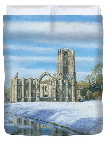 Winter Morning Fountains Abbey Yorkshire Duvet Cover by Richard Harpum