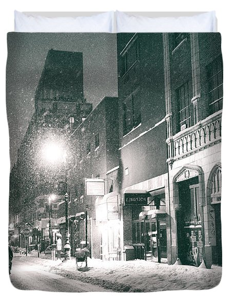 Winter Night - New York City - Lower East Side Duvet Cover by Vivienne Gucwa