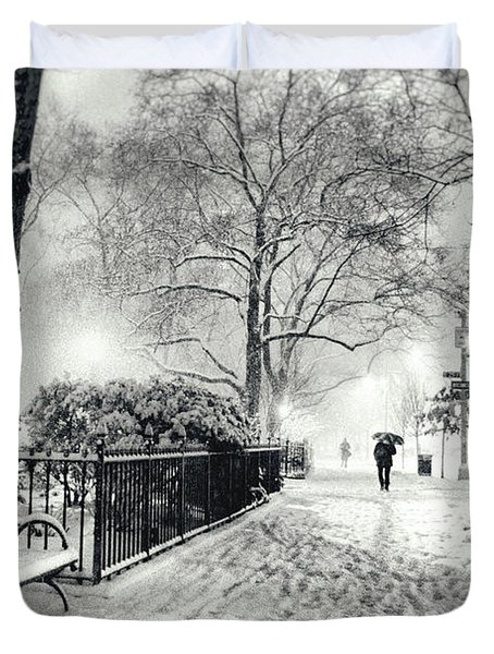 Winter Night - Snow - Madison Square Park - New York City Duvet Cover by Vivienne Gucwa