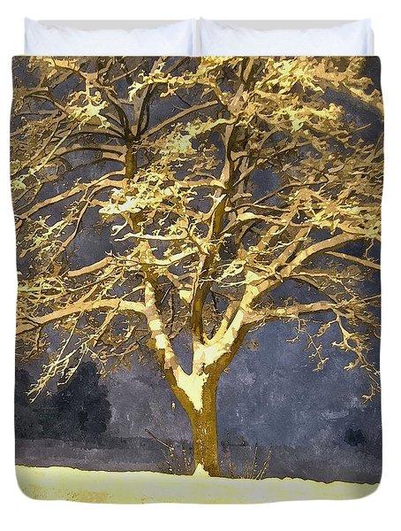 Winter Night - Snowy Tree Duvet Cover by Jutta Wolfram