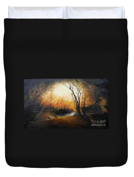 Winter Night Duvet Cover by Sorin Apostolescu