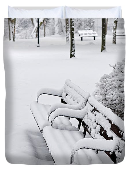 Winter Park With Benches Duvet Cover by Elena Elisseeva
