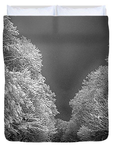 Winter Road Duvet Cover by John Haldane