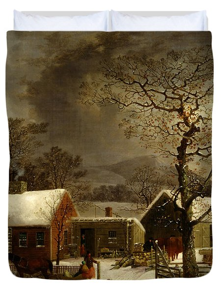 Winter Scene In New Haven Connecticut 1858 By Durrie Duvet Cover by Movie Poster Prints