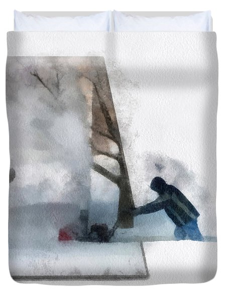 Winter Snow Blower Photo Art Duvet Cover by Thomas Woolworth