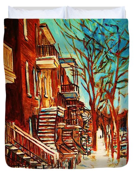 Winter Staircase Duvet Cover by Carole Spandau