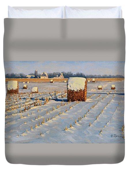 Winter Stubble Bales Duvet Cover by Bruce Morrison