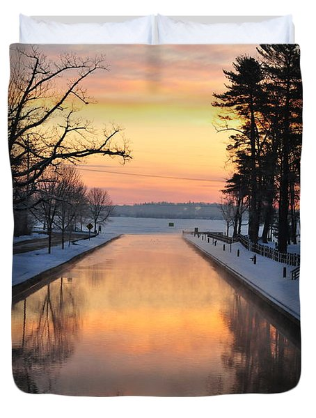 Winter Sunrise At Mitchell State Park Duvet Cover by Terri Gostola