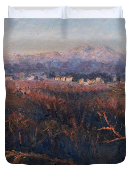 Winter Sunset In Brianza Duvet Cover by Marco Busoni