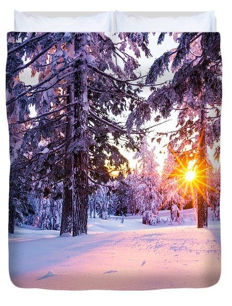 Winter Sunset Through Trees Duvet Cover by Priya Ghose