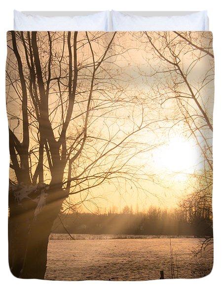 Winter Sunset Duvet Cover by Wim Lanclus