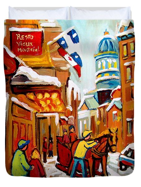 Winter Walk Montreal Duvet Cover by Carole Spandau