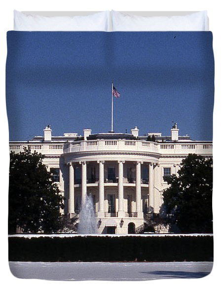 Winter White House  Duvet Cover by Skip Willits