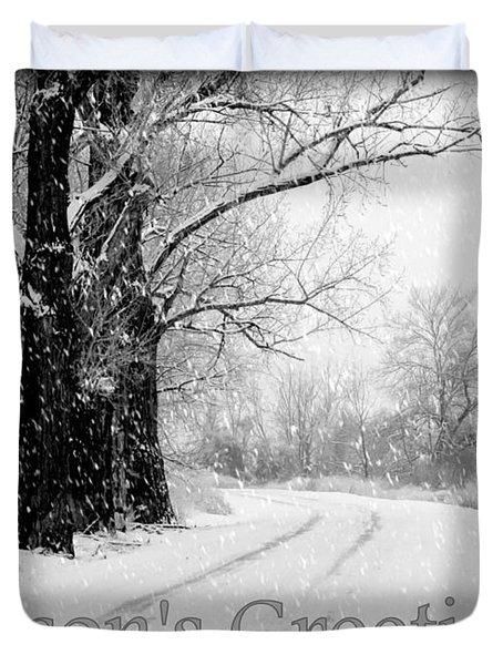 Winter White Season's Greeting Card Duvet Cover by Carol Groenen