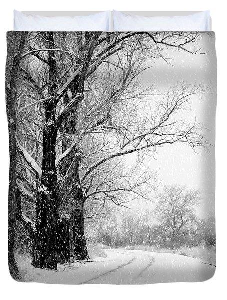 Winter White Season's Greetings Duvet Cover by Carol Groenen