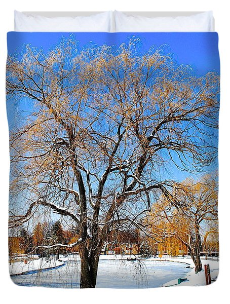 Winter Willow Duvet Cover by Frozen in Time Fine Art Photography