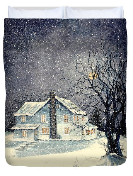 Winter's silent night Duvet Cover by Janine Riley