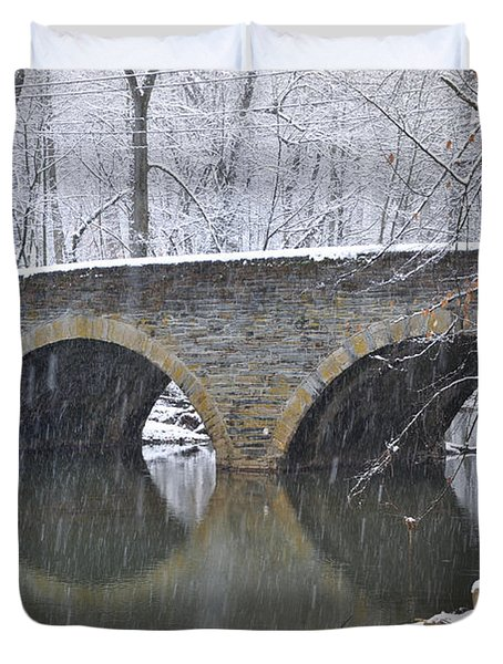 Wintertime at Bells Mill Road Duvet Cover by Bill Cannon