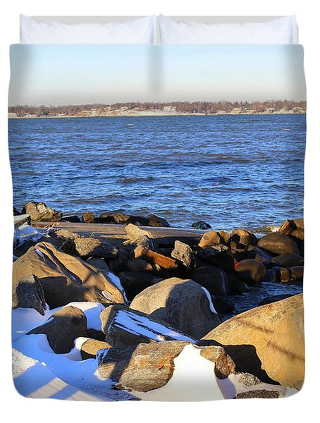 Wintry Day At The Bay Duvet Cover by Dora Sofia Caputo Photographic Art and Design