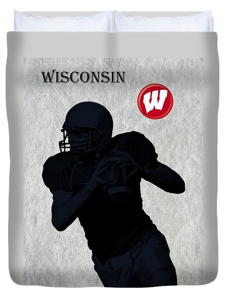 Wisconsin Football Duvet Cover by David Dehner