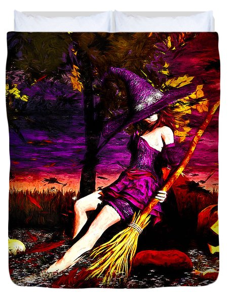 Witch in the Punkin Patch Duvet Cover by Bob Orsillo
