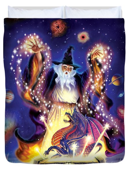 Wizard Dragon Spell Duvet Cover by Andrew Farley