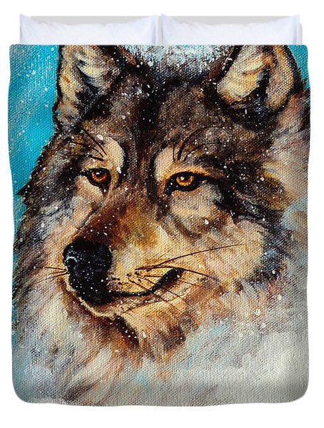 Wolf In A Snow Storm Duvet Cover by Bob and Nadine Johnston