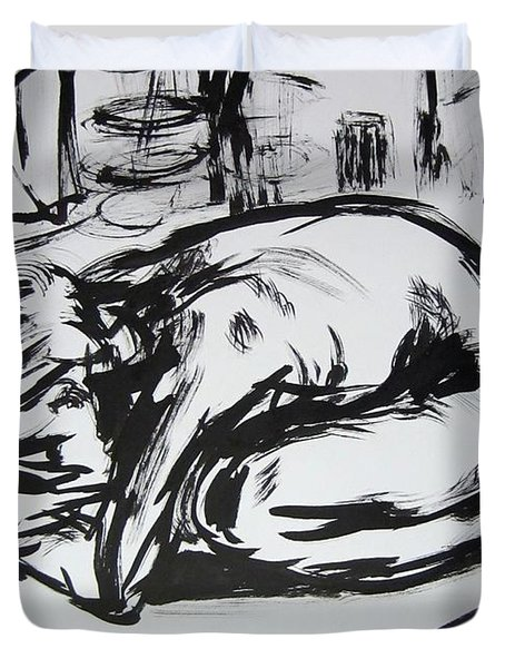 Woman Alone With Shadows Duvet Cover by Kendall Kessler