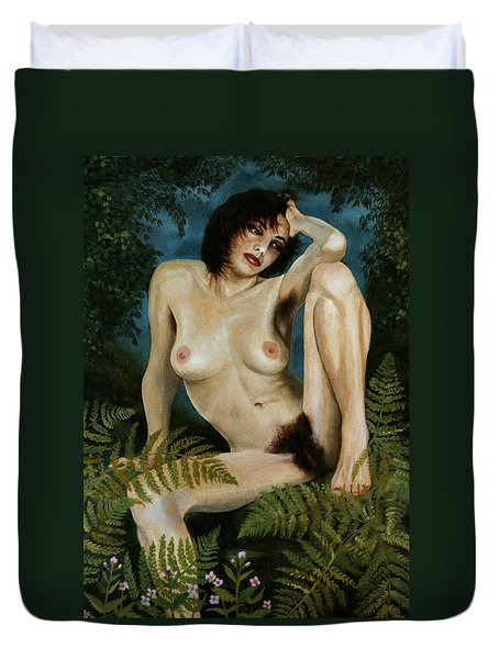 Woman And Ferns Duvet Cover by Jo King