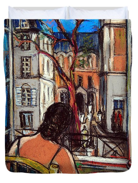 Woman At Window Duvet Cover by Mona Edulesco