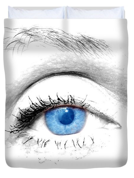 Woman Blue Eye Duvet Cover by Michal Bednarek