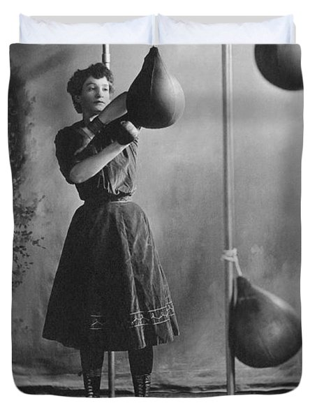 Woman Boxing Workout Duvet Cover by Underwood Archives