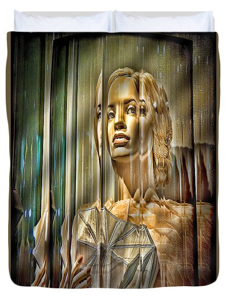 Woman In Glass Duvet Cover by Chuck Staley