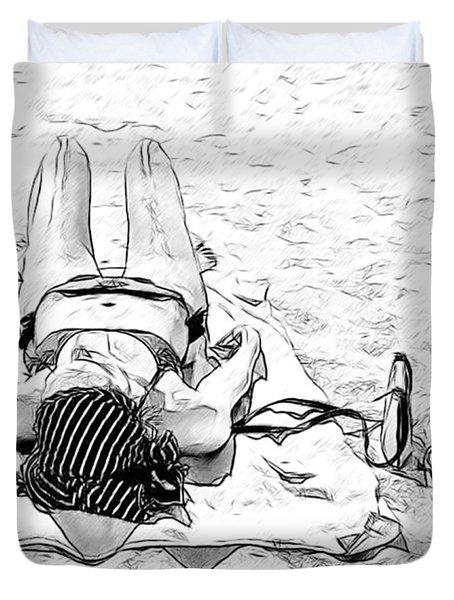 Woman On Beach Duvet Cover by Les Palenik