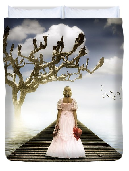 Woman On Pier Duvet Cover by Joana Kruse