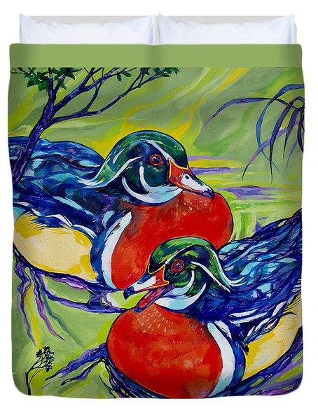 Wood Duck 2 Duvet Cover by Derrick Higgins