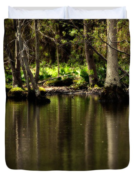 Wooded Reflection Duvet Cover by Karol Livote