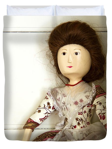 Wooden Doll Duvet Cover by Margie Hurwich
