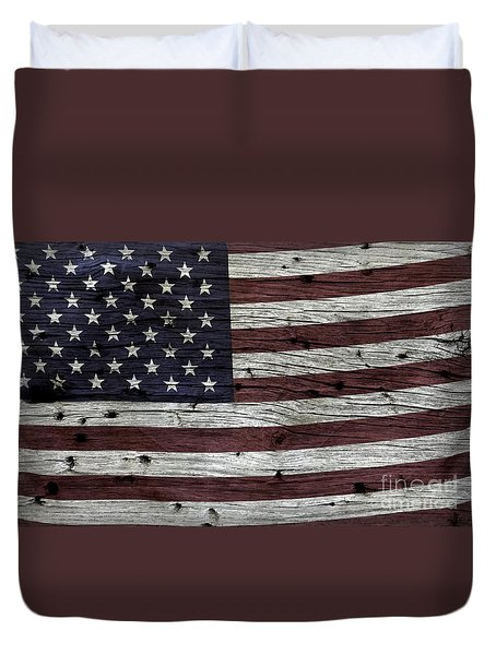 Wooden Textured Usa Flag3 Duvet Cover by John Stephens