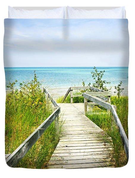 Wooden walkway over dunes at beach Duvet Cover by Elena Elisseeva