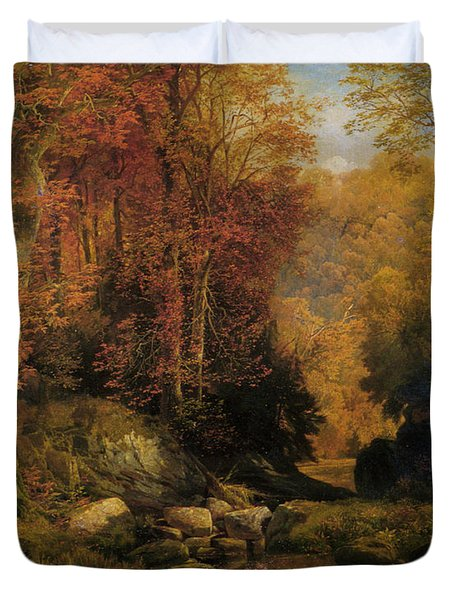Woodland Interior Duvet Cover by Thomas Moran