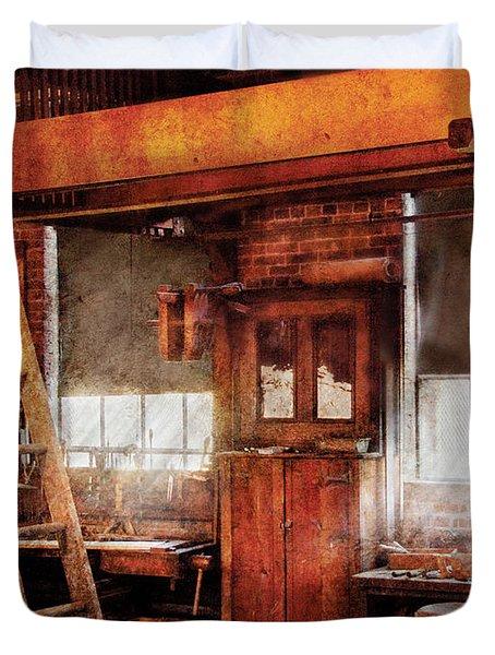 Woodworker - Old Workshop Duvet Cover by Mike Savad
