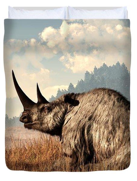 Woolly Rhino And A Marmot Duvet Cover by Daniel Eskridge