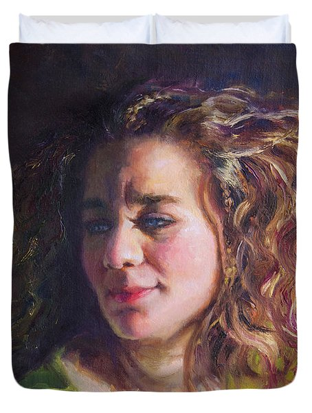 Work In Progress - Self Portrait Duvet Cover by Talya Johnson