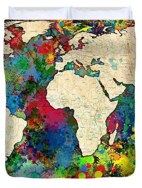 World Map Colorful Duvet Cover by Gary Grayson