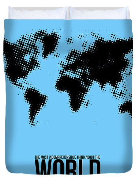 World Map Poster Duvet Cover by Naxart Studio
